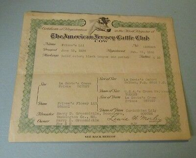 1936 American Jersey Cattle Club Registration Certificate Cow Prince's Lil