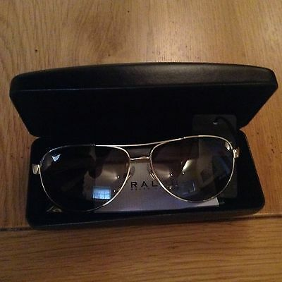 Ralph Lauren Aviator Style Metal Sunglasses With Case (New)