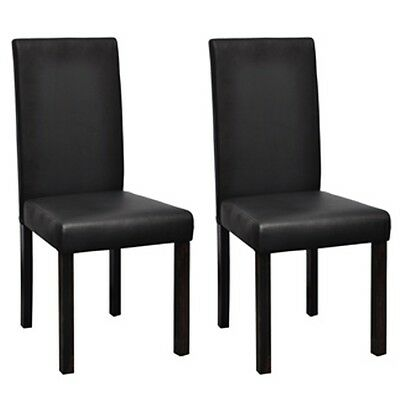 New 2 pcs Artificial Leather Wood Black Dining Chair Contemporary High-quality