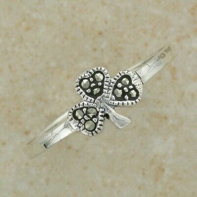 Irish Celtic Sterling Silver shamrock ring with marcasite stones SZ 9