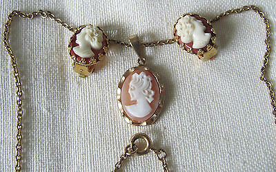 Vintage cameo pendant with chain and pair of cameo clip on earrings
