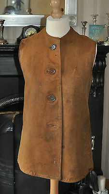 Authentic WW1/WW2 Leather Military Vest - J.Johnstone W / 422233- Yester House