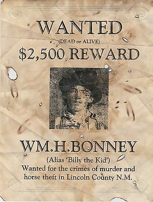 Billy The Kid~(I Combine Shipping)~Old West Wanted Posters Outlaw