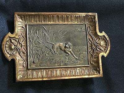 Aesthetic Movement Gaming Dog Tray Ormelu over Cast Iron Victorian Decorative