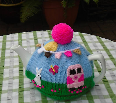 Hand Knitted Summer Days Tea Cosy Camper Van Bunny And Bunting Medium Teapot