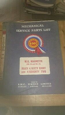 Bmc Akd 3545 Factory Service Parts List Mg Magnette,riley 4/sixty Eight,4/ 72