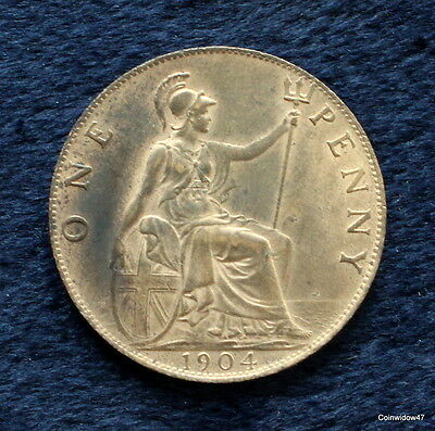 SCARCE Edward VII 1904 Penny UNC with lustre