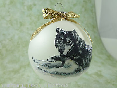 W002 Hand-made Christmas Ornament - Wolf Wolves - Lela at Valley of the Kings