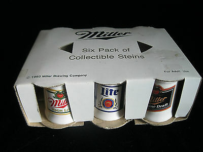 Vintage 1993 Miller Beer  6 Pack Of Collectable Steins- Nib - Miniatures
