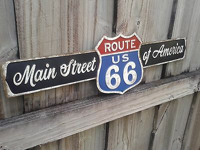 Route 66 The Main Street Metal Sign With Raised Letters 22 By 7 Inches Garage