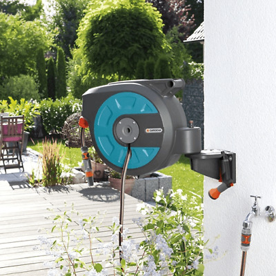 Gardena Wall-Mounted Roll-Up Automatic Hose Reel with 15m Hose