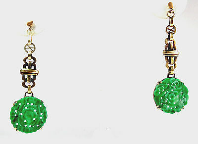 Deco, Chinese, 14K Gold, Carved Green Jadeite Jade Dangle Earrings