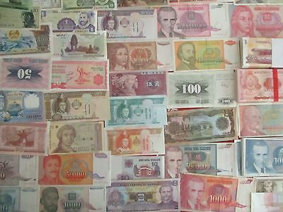 100 Worldwide Banknotes Circulated And Uncirculated