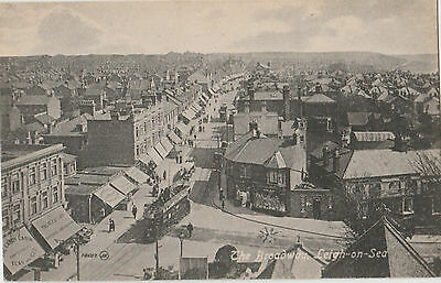 EARLY ESSEX POSTCARD: LEIGH-ON-SEA with tram 1916