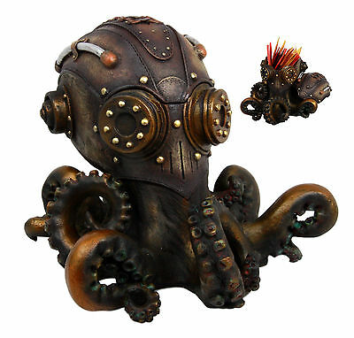 Steampunk Octopus Cyborg Infantry Decorative Box Or Ashtray Ocean Figurine
