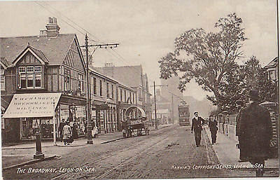 EARLY ESSEX POSTCARD: LEIGH-ON-SEA street scene, with tram