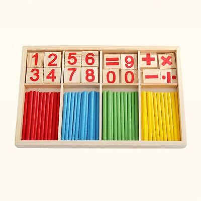 Number Game Wooden Counting Toys Math Material Early Learning For Kids