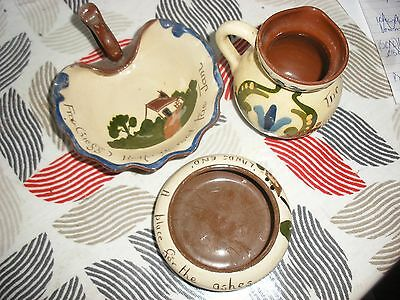 Torquay ware bowl , jam dish and jug