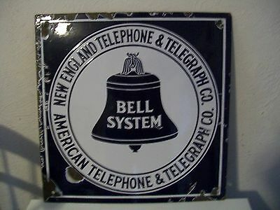 New England Telephone & Telegraph Bell System Vintage Porcelain Sign