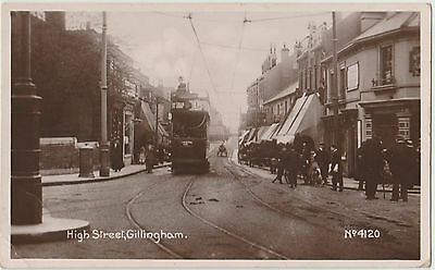 EARLY KENT RP POSTCARD: GILLINGHAM street scene with tram 1915