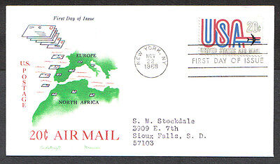 Us Fdc 1968 20C Air Mail Stamp Cachet Craft Mes First Day Of Issue Cover New Y