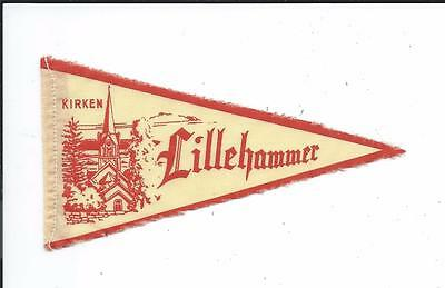 Lillehammer Norway Norge Old Small Souvenir Textile Pennant Church Kirken
