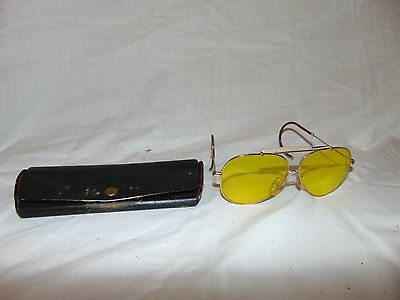 vintage Yellow Tint Shooting / Aviator Glasses #9849 Made in Japan w/ case