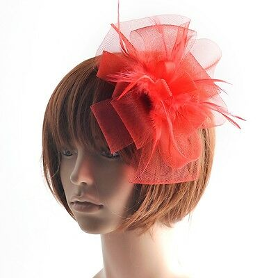 Party lady wedding handmade fascinator feather feather hair accessory clip red