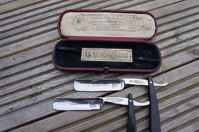 fully restored george Butler, vintage straight razor twin set, shave ready