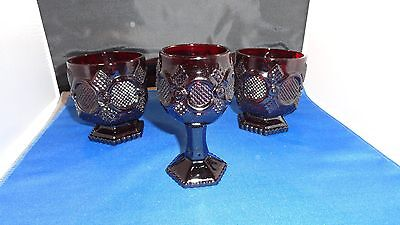 Vintage Avon Ruby Red Cape Cod Goblets