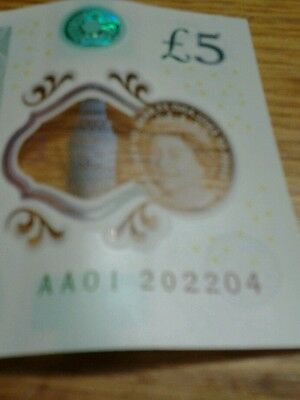 New Five Pound Note £5 numbered AA01 202204