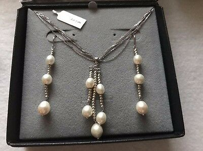 VINTAGE .925 Sterling Silver & Dangle Pearl Earrings & Necklace - Set  STUNNING
