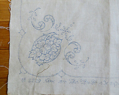 2 Antique STAMPED LINEN NAPKINS EMBROIDERy Scalloped Cross Stitched Cinderella