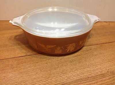 Vintage Pyrex Early Americana Casserole Dish 1 Pint With Clear Lid 471 470-C