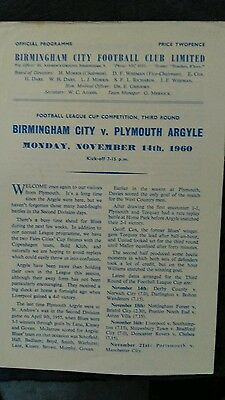 Birmingham City v Plymouth Argyle - 1960/1 League Cup - First season competition