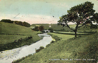 FAUGHAN RIVER AT OAKS CO. DERRY LONDONDERRY IRELAND by A. SMYTH, CROSS SENT 1908