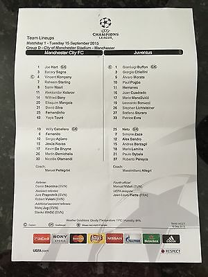 Manchester City V Juventus 15.09.2015 Champions League Official Teamsheet