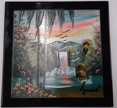 *Beautiful Tropical Mexican Tile Painting - Signed - 8 x 8 inch