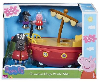 PEPPA PIG - GRANDAD DOG'S PIRATE SHIP BOAT with 3 FIGURES  *BRAND NEW IN BOX*