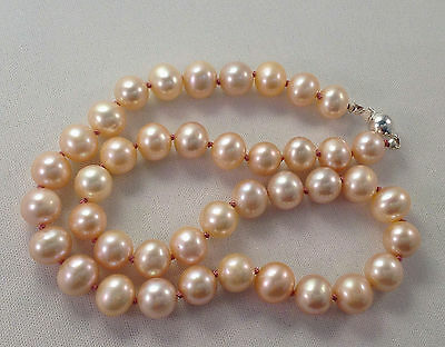 WOW!!!   Large 9mm 16 inch Pink Pearl Necklace