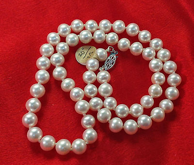 WOW!!!   Large 8mm 20 inch Pearl Necklace with 14k Clasp