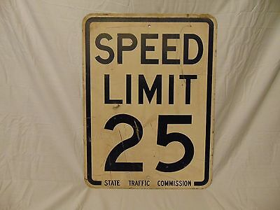 """Metal Speed Limit Sign 25 MPH 24"""" x 18"""" white w. black lettering State Traffic"""