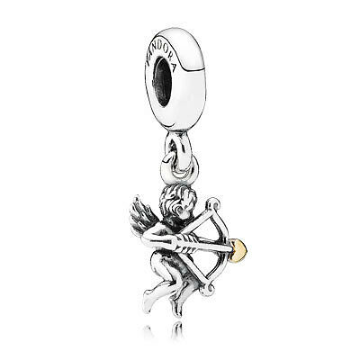 Pandora Sterling Silver and 14ct Gold Cupid Pendant Charm 791251  newb3