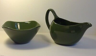 Vintage 1950s or 1960s dark green milk jug and sugar bowl