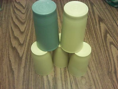 Set Of 5 Tupperware Harvest Gold 12 Oz Tumblers Cups Glasses Stackable 873