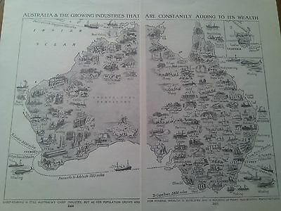 Map of Growing Industries of Australia from 1924 2 Small Pages to Frame
