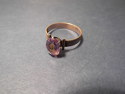 Antique 10k Gold Rose Of Sharon Ring Large Amethyst Terrific Band