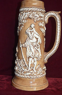 """LARGE 14"""" Tall German Beer Stein GARDEN OF EDEN Atlantic Mold A607 from 1981"""