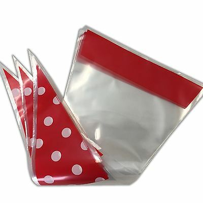 Red Polka Dot Funky Sweet Cone Bags - Party Favour Cellophane Bag