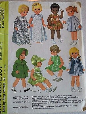 """1969 McCall's #2157 12-16"""" Lil Susan Lullaby Baby Doll Clothes Wardrobe Pattern"""